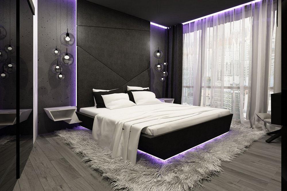 современная спальня шторы и покрывала в стиле лофт