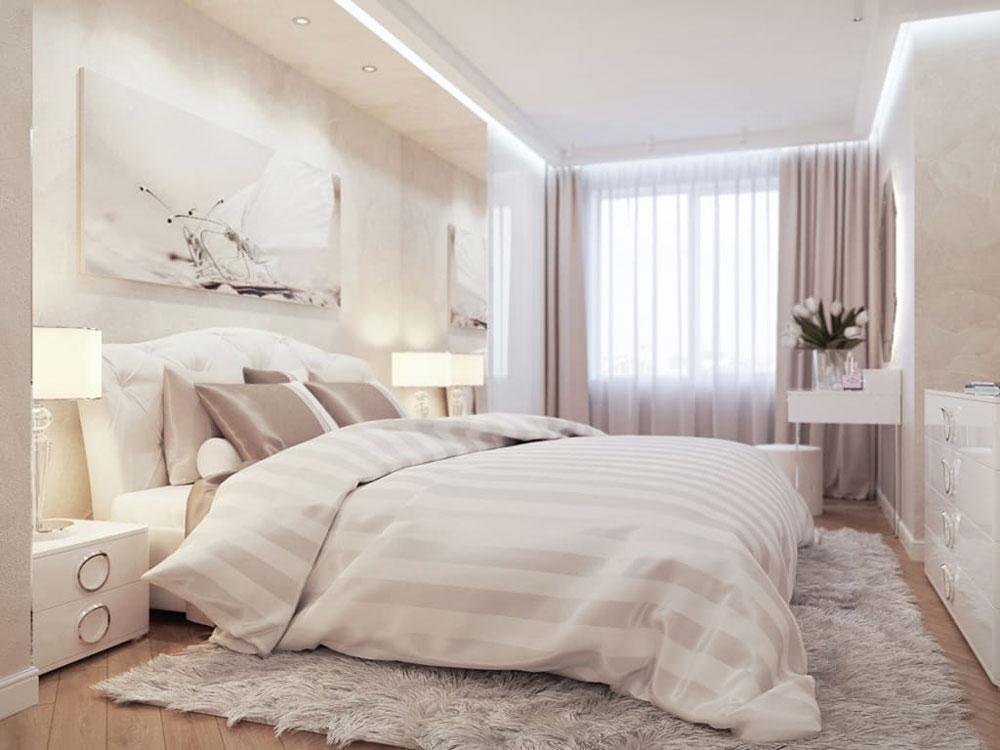текстиль в светлой спальне пошив штор на заказ