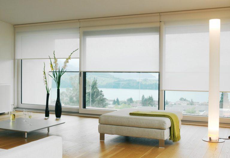 Рулонные шторы современного дизайна в интерьере суперсовременного жилища