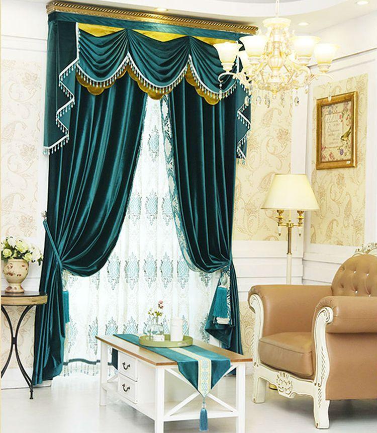 Классические шторы зеленые с ламбрекеном