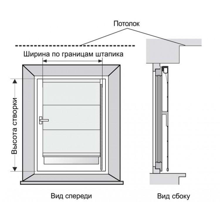 Схема римской шторы на створку