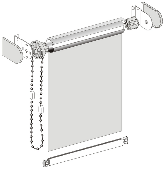 конструкция рулонных штор схема сборки и монтажа
