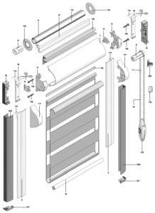 устройство рулонных штор, установка схема сборки, конструкция вида штор