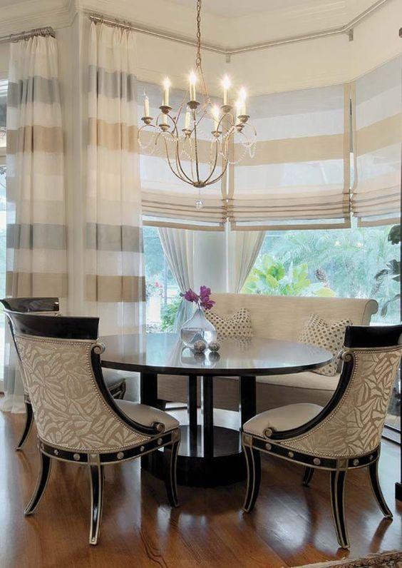 Римские шторы в столовом зале гостиной