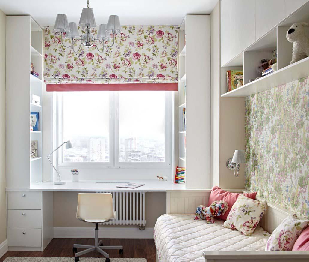 римская штора с растительным узором
