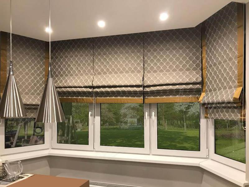 римские шторы эркер в кухне копия