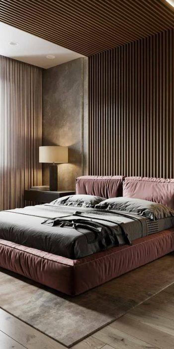 Шторы в современной спальне пошив с выездом дизайнера на заказ
